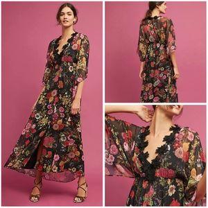 NWT FARM RIO ~ Small LAINA Black Floral Maxi Dress